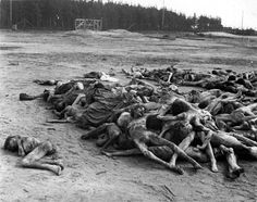 Bergen-Belsen, Germany, 1945, A pile of corpses.
