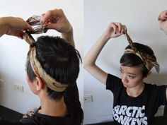 Tuck in ends or wear loose. fun way to accessorize pixie cut & basic tee. Tuck in ends or wear l Pixie Cut With Bangs, Short Hair Cuts, Short Hair Styles, Pixie Cuts, Grown Out Pixie, Pixie Hairstyles, Headband Hairstyles, Bandana Hairstyles Short, Beach Hairstyles