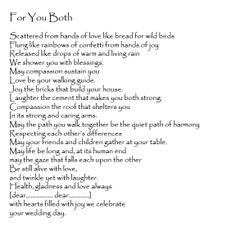 Wedding Reading For You Both Anonymous Tered From Hands Of Love Like Bread