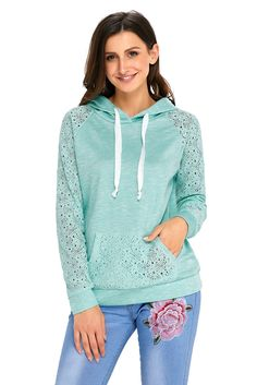 Light Green Lace Accent Kangaroo Pocket Casual Hoodie modeshe.com
