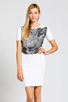 Black and White Leopard Face Dress , leopard dress Leopard Face, White Leopard, Leopard Dress, Elements Of Style, Online Fashion Stores, Dress P, Wholesale Clothing, Black And White, Formal Dresses
