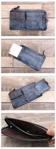 Card Holder Wallet Genuine Leather Long Wallet Dimensions: Length: 19 cm; Height: 10cm Color: Blue grey/Red