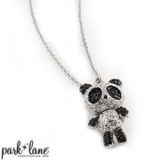 "Boo Necklace  Boo A cute pave panda is adorned with jet and clear crystals. Its legs and hands sway on a 24""+3"" linked chain."