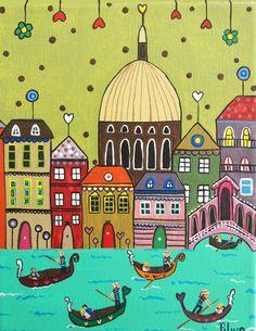 P1012325pinturas de PILAR Art Pop, Psychedelic Art, Karla Gerard, Ukrainian Art, Art Case, Happy Paintings, Naive Art, Home And Deco, Whimsical Art