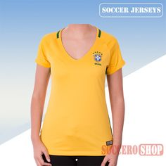 Nice Fitted Brazil Yellow 2016/17 Home Womens Soccer Jersey Clearance From China