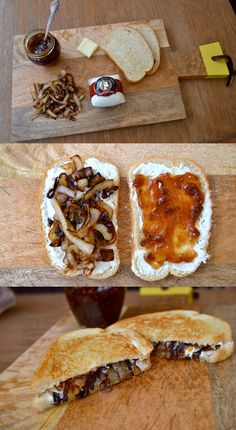 Goat Cheese, Caramelized Onion & Fig Jam Grilled Cheese - you can make this on wheat or sprouted bread for a healthy and tasty melt! I Love Food, Good Food, Yummy Food, Tasty, Food Porn, Def Not, Snacks, Food To Make, Delish