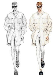 Alessia Zambonin - Istituto Marangoni Fashion Illustration, sketch and rendering #JuunJ #fashionsketch #menswear #dkny #fashiondrawing #pantone #copic #fashionillustration #man #malemodel #trench #tennisshoes #white #sunglasses #catwalkshow #totalwhite #donnakaran