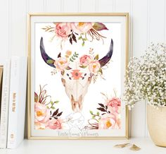 Aztec bull skull print Tribal Bull art print by LittleEmmasFlowers