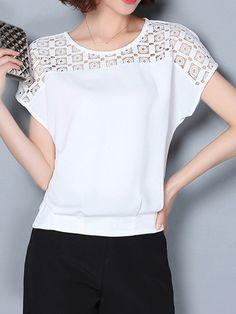 1bcae6294a6 Round Neck Cutout Patchwork Plain Short Sleeve T-Shirts-Berrylook  #ShortSleeveTShirts #tshirtsforsale