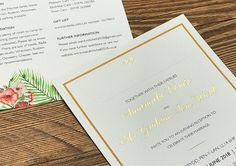 Gold foil detailing printed onto these wedding invites