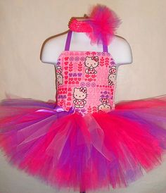 Hello Kitty Tutu Dress (Pageant, Birthday,Costume, purple, valentines day, pink)