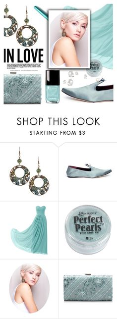 """""""Very Pretty Verdigris"""" by divni ❤ liked on Polyvore featuring TradeMark, Fountain, Tadashi Shoji, Black Pearl and earrings"""