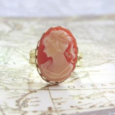 Victorian Carnelian and Cream Vintage Cameo Brass Ring