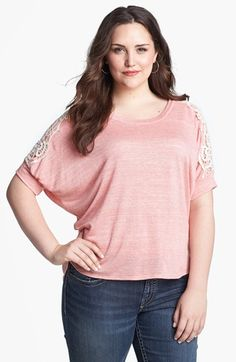 Painted Threads Lace Sleeve Tee (Juniors Plus) available at #Nordstrom