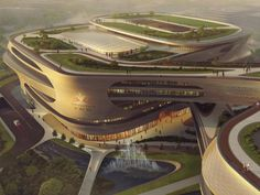 Guangzhou Infinitus Plaza by Zaha Hadid Architects breaks ground Zaha Hadid Architecture, Parametric Architecture, Green Architecture, Concept Architecture, Futuristic Architecture, Sustainable Architecture, Architecture Design, Architectural Engineering, Commercial Complex