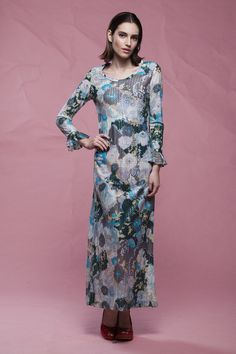 a0d0dd2492d metallic floral maxi dress blue yellow long flounced sleeves scoop neck  vintage 70s MEDIUM M