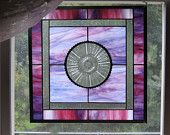 Vintage Depression Glass Stained Glass Panel