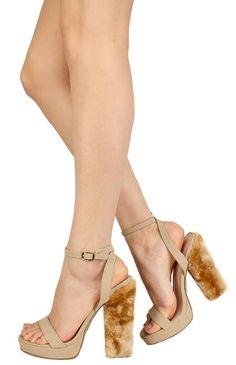 f13b9f44f632 BONI NUDE OPEN TOE WOMEN S FURRY FASHION HEELS ONLY  10.88 Fashion Heels