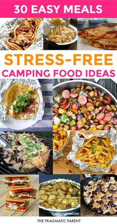 30 Simple & Easy Camping Food Ideas Your Kids Will Devour It's camping season, which means it's time to look into for new meals outside the same 'ol hot dogs and hamburgers. Easy to make camping meals. Camping Desserts, Camping Menu, Family Camping, Tent Camping, Outdoor Camping, Camping With Kids, Camping Cooking, Food To Bring Camping, Make Ahead Camping Meals