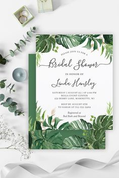 This Summer Destination Wedding Invitation Set feature Tropical Palm Leaves with outstanding calligraphy scripts that surround your wedding details. Here are the matching items from Wedding Invitations to Wedding Stationery and more. Destination Wedding Invitations, Wedding Rsvp, Wedding Invitation Sets, Wedding Save The Dates, Bridal Shower Invitations, Invitation Design, Wedding Stationery, Wedding Places, Wedding Place Cards