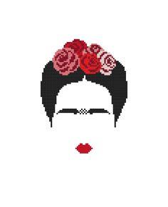 PDF cross stitch pattern, modern cross stitch, Frida Khalo cross stitch pattern, modern embroidery, Frida portrait, counted cross stitch par PolarisStudioDesign sur Etsy https://www.etsy.com/fr/listing/503434460/pdf-cross-stitch-pattern-modern-cross