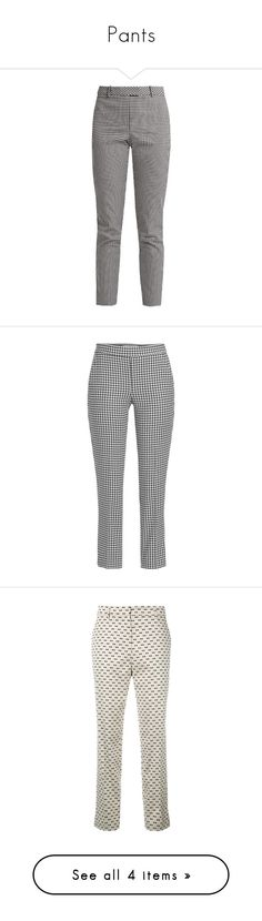 """Pants"" by petreshka-lee-richardson ❤ liked on Polyvore featuring pants, bottoms, black white, high waist pants, slim leg pants, high-waisted trousers, cotton blend pants, high rise pants, capris and multicolored"