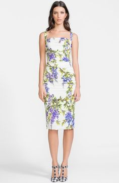 Free shipping and returns on Dolce&Gabbana Wisteria Print Charmeuse Tank Dress at Nordstrom.com. Meticulous ruching through the sides flatters the figure-following silhouette of a charmeuse tank dress abloom in a painterly, budding wisteria print.