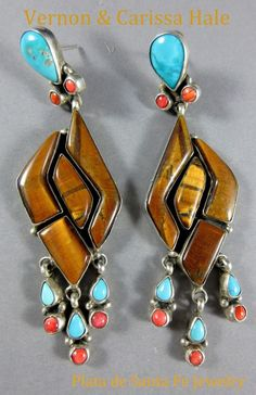 Navajo~VERNON & CLARISSA HALE~Tigers Eye/Turquoise/Red Spiny~925~Dangle Earrings