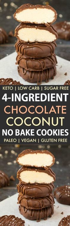 4-Ingredient No Bake Chocolate Coconut Cookies -An easy recipe for chocolate coconut no bake cookies using just 4 ingredients! Easy, delicious low carb cookies which take less than 5 minutes to whip up- The perfect snack or holiday gift.