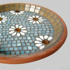 White Daisy Mosaic Bird Bath