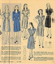 1940s Vintage Advance Sewing Pattern 3951 Uncut WWII Misses Wrap Dress Sz 30 B