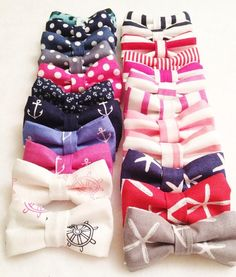 Puppy Dog BowTie Combo 2 Bows Nautical