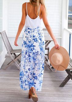 Blue Slit Maxi Skirt ==