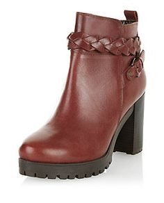 97d87b802b2b Dark Red Leather Plaited Strap Block Heel Ankle Boots