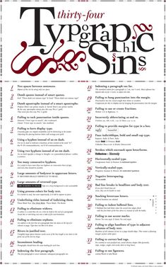 34 Sins Of Typography « mgpcpastor's blog.... Sin 35: inconsistency! #10 has no period, not that any are needed....