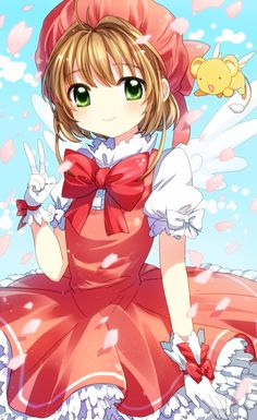 Cardcaptor Sakura | CLAMP | Madhouse / Kinomoto Sakura and Keroberos (Kero-chan) / 「さくらちゃん」/「ゆらみ 琥珀」のイラスト [pixiv]