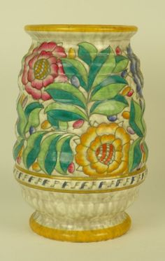 Charlotte Rhead for Crown Ducal large, ribbed vase, shape number 209, circa 1935-1938, decorated with pattern 4040 'Persian Rose'. | Sold: £260.00 | #charlotte_rhead #crown_ducal | http://www.pinterest.com/anniesland01/rhead-ceramics/