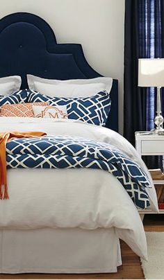 geometric duvet cover and shams Bedroom Ideas Navy Master Bedroom, Navy Bedrooms, White Bedroom Design, Bedroom Orange, Guest Bedrooms, Dream Bedroom, Guest Room, Master Suite, Blue Headboard