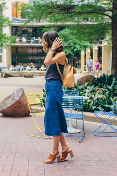 casual spring outfit, blogger outfit spring, denim midi skirt, blogger street style —via @TheFoxandShe