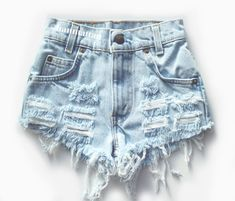 "ALL SIZES ""CHECKER"" Vintage Levi high-waisted denim shorts light blue distressed frayed on Etsy, $26.00"