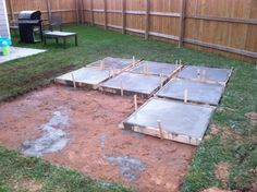 DIY Patios On a Budget | And then on day two, they poured the last 5 slabs.