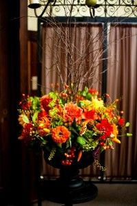 Perfect Alter Arrangement for a Fall Wedding - Could also add in or switch out some of the mass flowers for  orange callas, burgundy Safari Sunset Protea, and Bronze Football Mums - perfect for Audrey