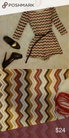 Knit Chevron Short Jumper Multi color Knit short outfit with see thru long sleeves. Brown braided belt included. Back zip slip on. Ark & Co Other