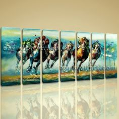 "Large Wall Art Famous Horse Racing Abstract Painting On Canvas Print Framed Extra Large Wall Art, Gallery Wrapped, by Bo Yi Gallery 76""x36"". Large Wall Art Famous Horse Racing Abstract Painting On Canvas Print Framed Subject : Horse Style : Contemporary Panels : 7 Detail Size : 10""x36""x7 Overall Size : 76""x36"" = 193cm x 91cm Medium : Giclee Print On Canvas Condition : Brand New Frames : Gallery wrapped [FEATURES] Lightweight and easy to hang. High revolution giclee artwork/photograph…"