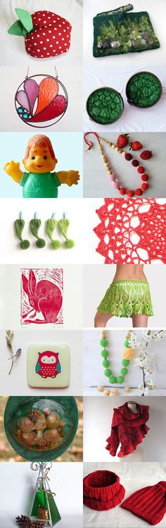 Treasury of True Fairy. Red and Green. by Anna True Fairy on Etsy--Pinned+with+TreasuryPin.com