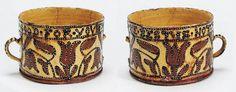 A rare Staffordshire dated slipware two-handled posset or bragget pot  circa 1700.