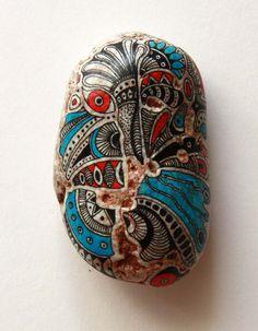 Kseniya(TataKP) Feather Painting, Pebble Painting, Dot Painting, Pebble Art, Stone Painting, Pebble Stone, Stone Art, Hand Painted Rocks, Painted Stones