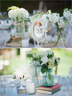 mirrors as table numbers and books included as centerpieces - great details for a shabby chic or vintage inspired event - I LOVE THIS ON LACEY