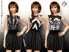 Three beautiful dresses with tops in black and white, optical patterns, Found in TSR Category 'Sims 4 Female Everyday' Maxis, Sims 4 Dresses, Sims 4 Game, Sims 4 Update, Sims Resource, Sims 4 Clothing, Beautiful Dresses, Peplum Dress, Black And White