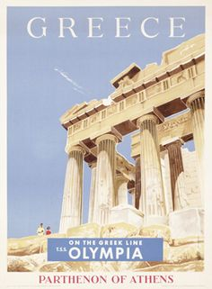 Solid-Faced Canvas Print Wall Art Print entitled Greece, Greek Parthenon,Vintage Poster, None Vintage Travel Posters, Vintage Ads, Poster Vintage, Around The World In 80 Days, Around The Worlds, Greek Parthenon, Old Posters, Death Valley National Park, Poster S